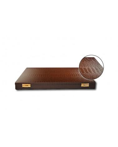 Minidipolmat - Astuccio vuoto, color marrone,modello coccodrillo