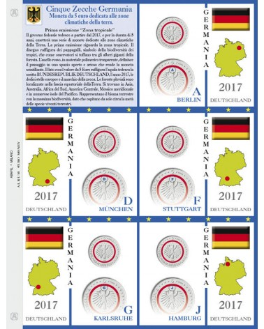 Foglio per 5€ commemorativi Germania 5 Zecche 2017