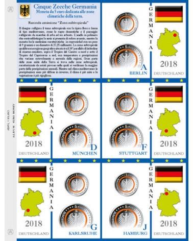 Foglio per 5€ commemorativi Germania 5 Zecche 2018