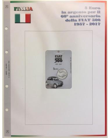1- FOGLIO 5€ ITALIA 60' ANNIVERSARIO DELLA FIAT 500 - 2017