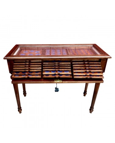 WOOD COIN CABINET WITH GLASS - 21 DRAWERS
