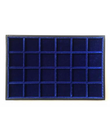Novità ripiano standard velluto blu 24 caselle  cm 33,5 x 22