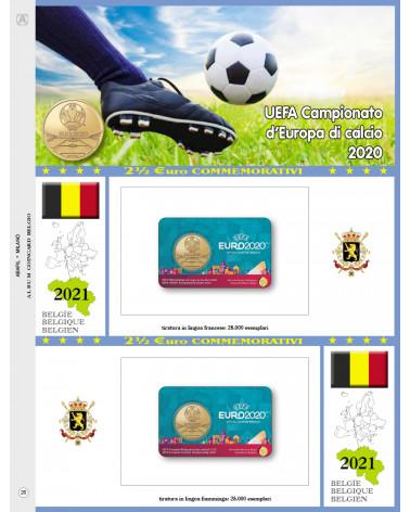 2€ 1/2 blister Belgio 2021 double UEFA football championship of Europe