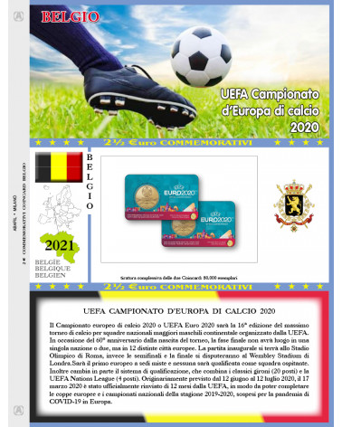 2€ 1/2 blister Belgio 2021 singole UEFA football Championship of Europe