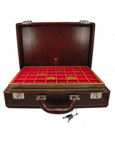 Valigetta Diplomat cuoio completa di ripiani legno/velluto rosso