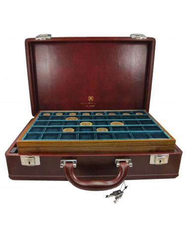 Valigetta Diplomat cuoio completa di ripiani legno/velluto verde