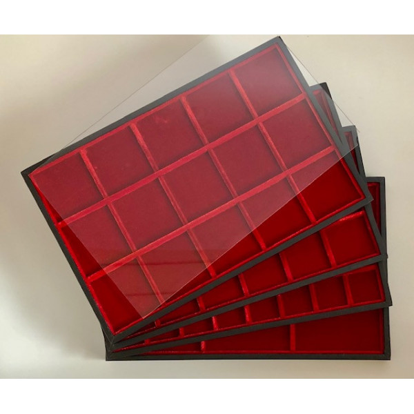 Red classic velvet trays for tags